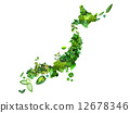 A Japanese map of green leaves 12678346