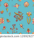 flowers and birds seamless texture pattern 12692927