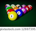 Billiards pool balls on table racked 12697395