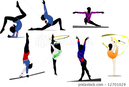 Woman gymnastic colored silhouettes. Vector illustration 12701029