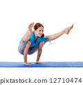 Yoga - young beautiful woman doing yoga asana excerise isolated 12710474