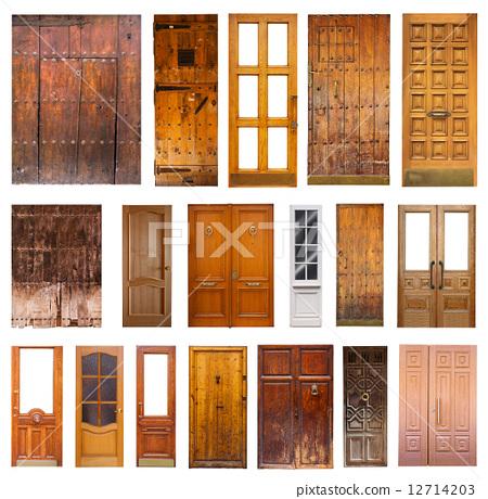 Set of many wooden doors. Isolated on white 12714203