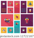 Chinese New Year flat ui background, eps10 12722167
