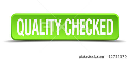 quality checked green 3d realistic square isolated button 12733379