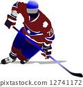 冰球 曲棍球 矢量 12741172