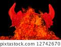 Devil party horns in fire plames, temptation or sin concept. 12742670