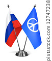 Russia and Peace Sign - Miniature Flags. 12747238