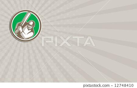 Business card Cricket Player Batsman Batting Circle Retro 12748410