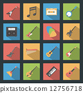 Musical Instruments flat icons set 12756718