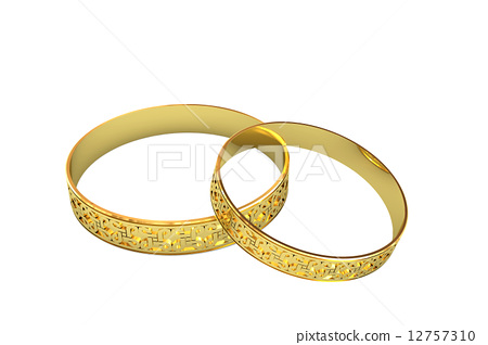 Golden wedding rings with magic tracery 12757310