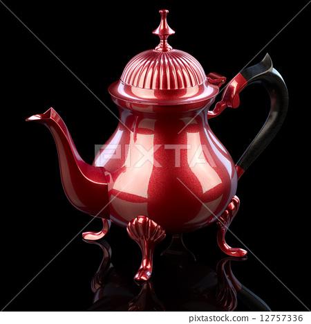 Vintage Metal Coffee Pot On Black Background 3d Illustration 12757336