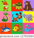 Set of animals with background 12763084