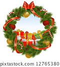 Vector Christmas Wreath with Background 12765380