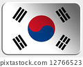 South Korea 3D button on white background 12766523
