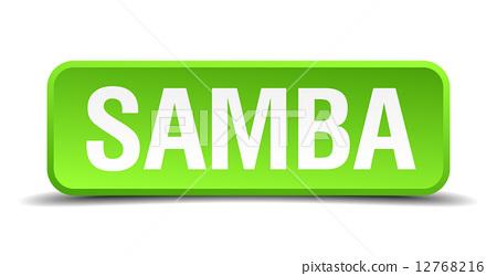 Samba green 3d realistic square isolated button 12768216