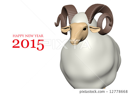 New year's card (white sheep · white simple / Happy New Year 2015) 12778668