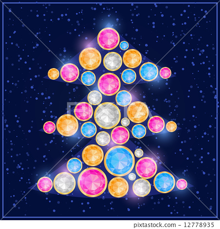 Colorful Gem Stone Christmas Tree Card 12778935