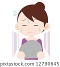 女性 上半身 重い石を持つ 12790645