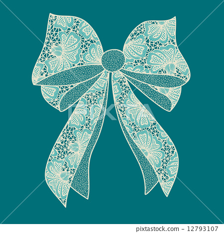 Decorative lacy bow on blue green background 12793107