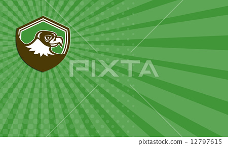 Business card Falcon Head Side Shield Retro 12797615