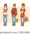 hipster, girl, set 12801686