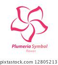 Plumeria (frangipani) flower symbol 12805213