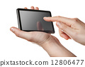 tablet pc with touch screen in hands isolated 12806477