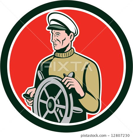 Fisherman Sea Captain Wheel Circle Retro 12807230