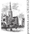 Chichester Cathedral vintage engraving in the 1890s 12811012
