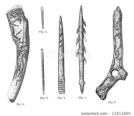 Magdalenian Tools and Weapons, vintage engraving 12811660