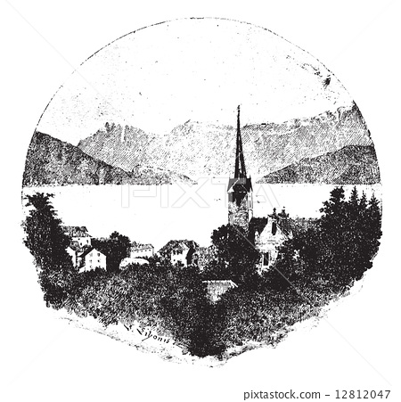 Weggis, vintage engraving. 12812047