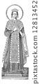Statue of Saint Agnes, vintage engraving 12813452