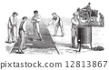 Road workers doing asphalt vintage engraving 12813867
