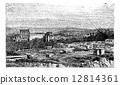 engraving, ruin, baalbek 12814361