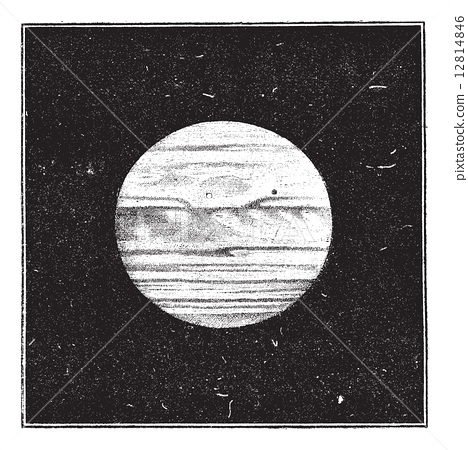 Aspect of Jupiter in December 1885 with a satellite passing the 12814846