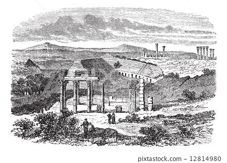 The ruins of Gerasa in Jordan vintage engraving 12814980