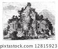 The large Temple at Brambanan, Indonesia, vintage engraving. 12815923