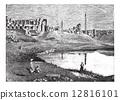 Karnak (Egypt) ruins of the great temple and obelisk, vintage en 12816101