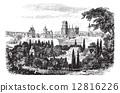 Gdansk in Pomerania, Poland, vintage engraving 12816226