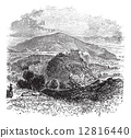 Countryside view of Castellammare di Stabia vintage engraving 12816440