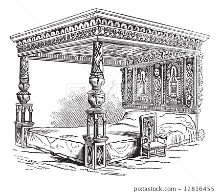 Great Bed of Ware, vintage engraving 12816455