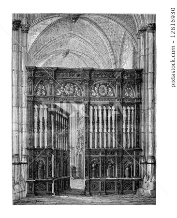 Closing of the choir (oak) of the Cathedral of Lisieux. - Drawin 12816930