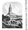 Les Arenes and the steeple of St. Eutropius, a Saintes, vintage 12817000