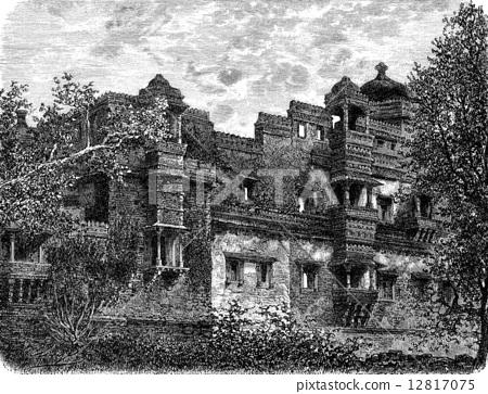 The Zenanah at Chittorgarh, vintage engraving. 12817075