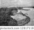 The bank of Lake Barua, vintage engraving. 12817118
