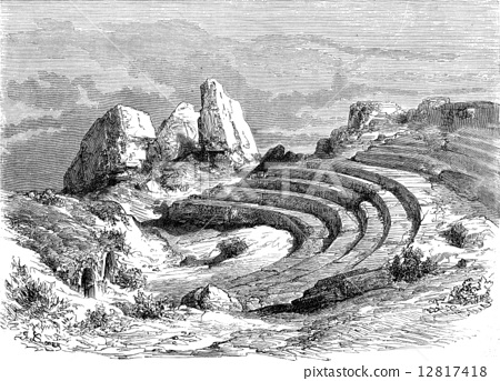 Ruins of Italica, near Seville, vintage engraving. 12817418