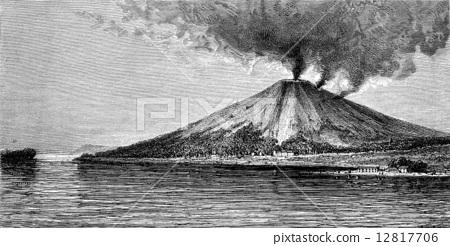 The volcano in Banda, vintage engraving. 12817706
