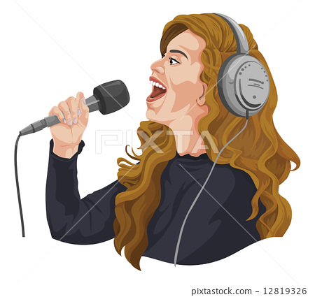 Vector of female singer with headphones. 12819326