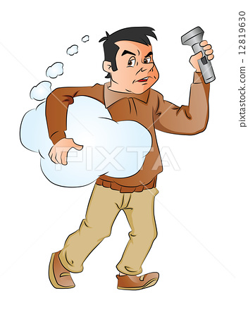 Vector of man holding thought cloud and flashlight. 12819630