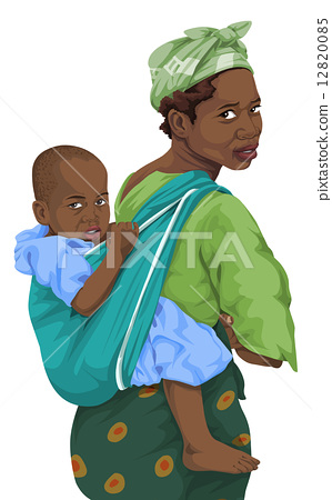 Vector of african woman giving piggyback ride to son. 12820085